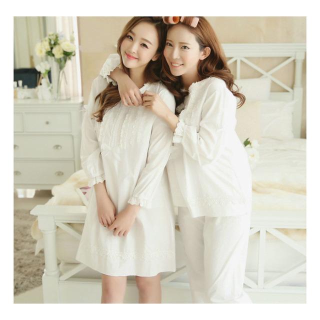 Mulheres Nightgowns Pijamas Primavera 2016 Novas Rendas Bordado Arco Senhora Camisola Salão M L XL Rosa Branco Azul