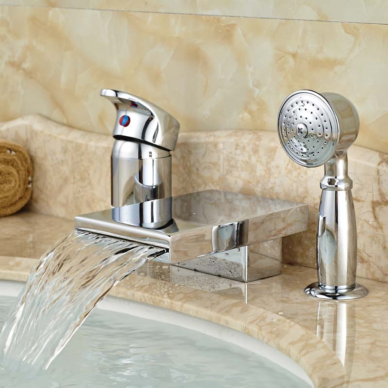 Single Handle Deck Mount Waterfall Spout 3pcs Tub Filler