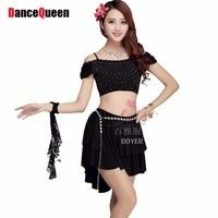 2015 Costum Dance Top Skirt Sexy Belly Dance Set Auger Short Sleeve Belly Dancing Outfit Black