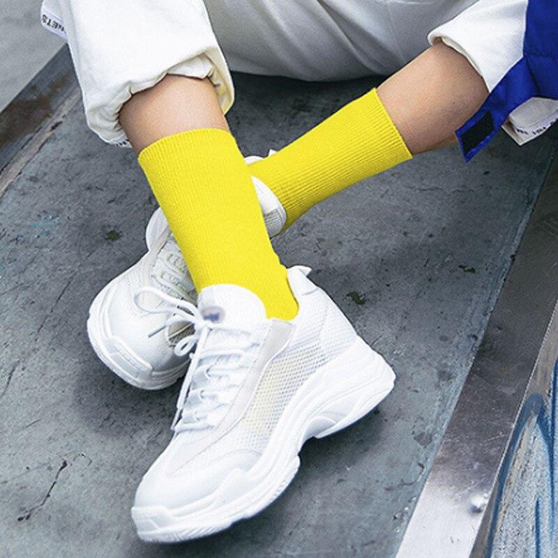 Fashion Cotton Cute  Hot New Hosiery Pile Heap Solid Socks  Mid Tube Socks Candy Color Women  Kawaii Winter Warm Harajuku