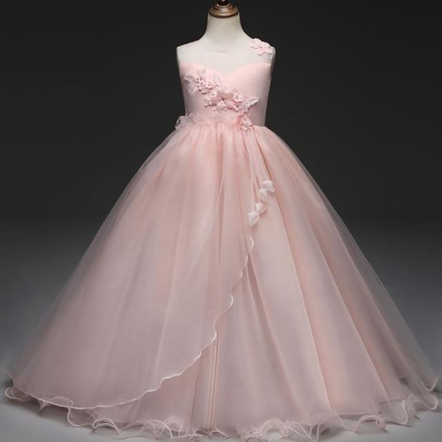 5678ab81d396 Flower Girl Dress Long Dress for Wedding Gown Solid Pink Purple White  Appliques Graduation Gown Dress Vestido Largo Violeta Boda