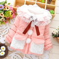 2016 Baby girl jacket Baby girl autumn winter coat Candy color fashion lace collar lace stitching White Balls infant jackets