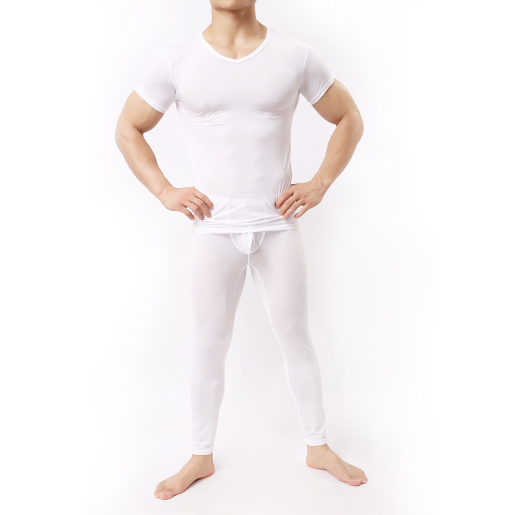 1 Set New Brand Sexy Men See Through Ice Silk T-shirts No Seaming Tee Thin Light Standard Man T-shirt Cool Pajamas FX1037 ...