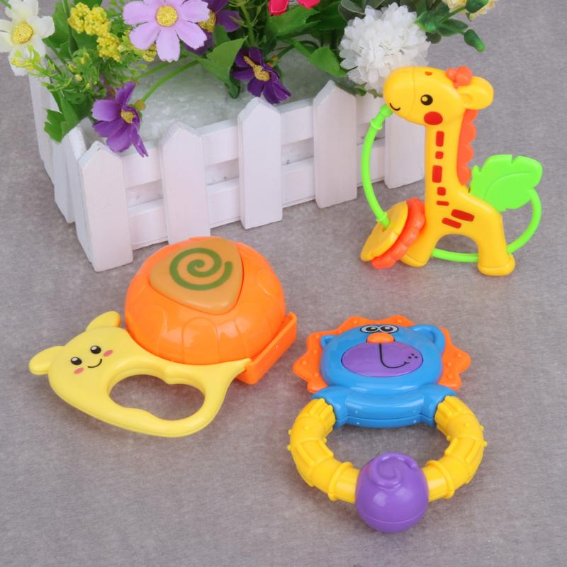 3pcs Cute Infant Cartoon Handbells Toy Baby Lovely Hand Bell Rattle Toys Early Educational Plastic Babies Bells Gift Present
