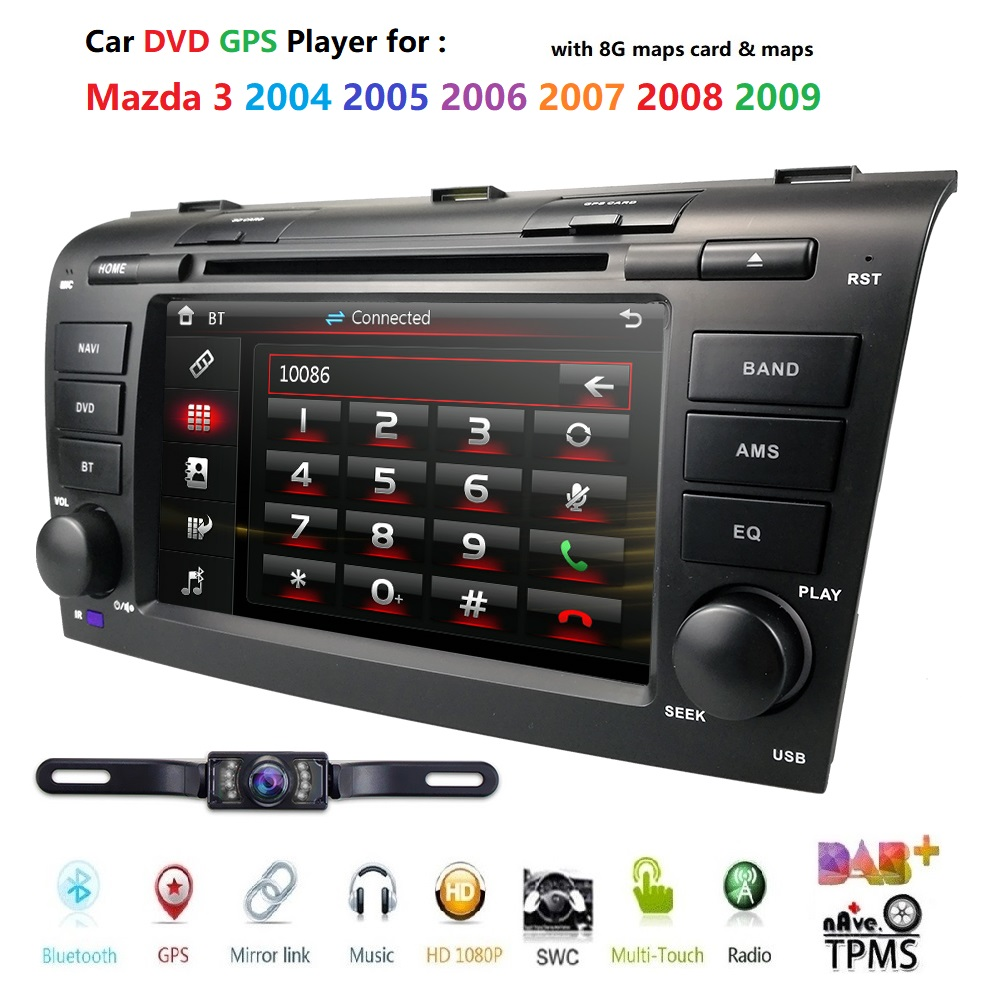 Wince 6.0 Car DVD Player Fit Mazda 3 GPS Navigation 2Din Steering Wheel 800*480 SD Radio Bluetooth TV DAB+BOX DVB-T Rearview CAM
