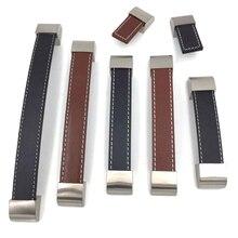 1x marrón/negro de cuero de cajón de la manija de los muebles perilla aparador de cocina armario tiradores de puertas de armario varios tamaños