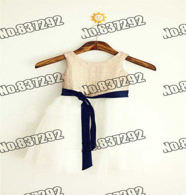 80a0fdf62 Matte Champagne Gold Sequin Tulle Communion/Baptism/ Junior Bridesmaid/Baby  Girl Flower Girl Dresses Navy Blue Sash for Wedding