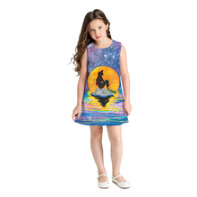 купить New Summer Girls Dress Cute Princess Sleeveless Print Children's Clothing Fashion Round Neck Girl Costume 8T-11T дешево
