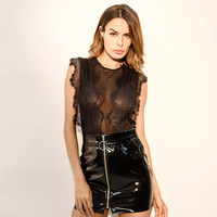 2018 New See Though Floral Sexy Black Lace Bodysuit Women Catsuit Sleeveless Summer Jumpsuit Hollow Out