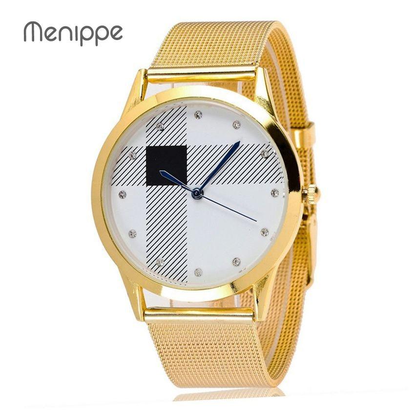 New Brand Menippe  Relogio Feminino Clock Women Men Watch Stainless Steel Watches Ladies Fashion Casual Watch Quartz Wristwatch