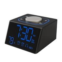 Portable Mini Adjustable Brightness Home Gift Bedroom With FM Radio Digital Display Loud Practical Dual USB Alarm Snooze