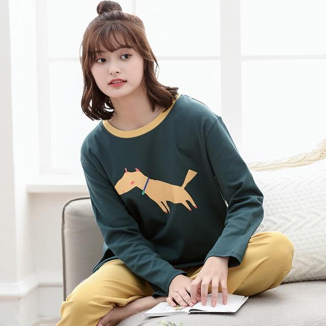 244c72b08f New Autumn And Spring 100% Cotton Women Pajamas Set Cute Cartoon Long  Sleeve Leisure Comfortable