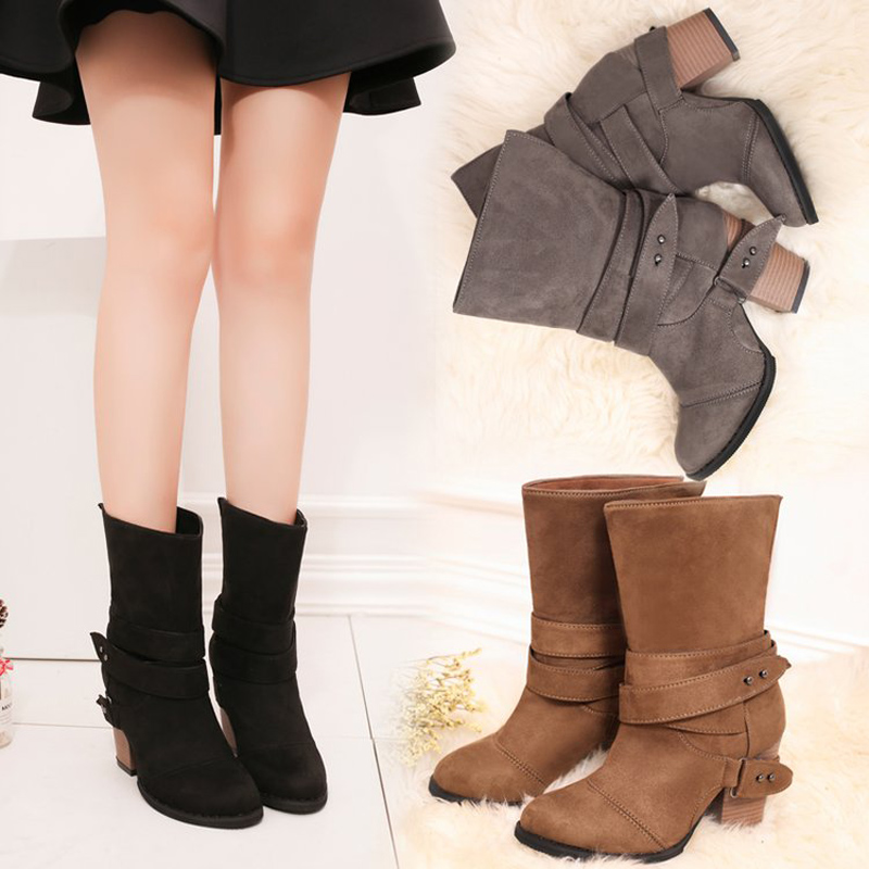 E TOY WORD Sheepskin Fur one snow boots belt buckle Martin boots female England wind thick heel non slip Mid calf boots size 43 in Ankle Boots from Shoes