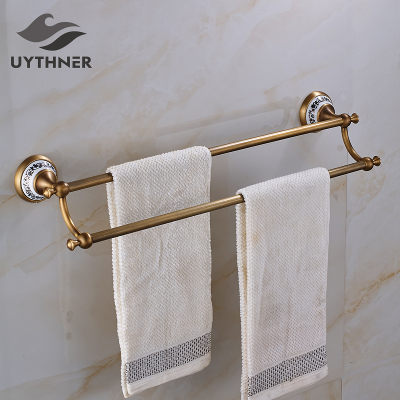 Solid Brass Bathroom Double Towel Bars Blue and White Porcelain Wall Cover Towel Holder Antique Brass aj141005 retro stylish bathroom soap holder dish red brass