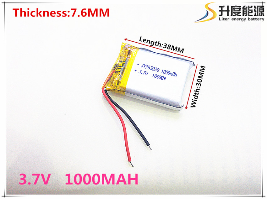 Free shipping 3.7 V 763038 lithium-ion polymer battery 1000 mah vehicle traveling data recorder LED speakers toys three wire battery 3 7v 3000mah polymer lithium ion battery li ion battery for tablet pc 7 inch mp3 mp4 [357095] free shipping