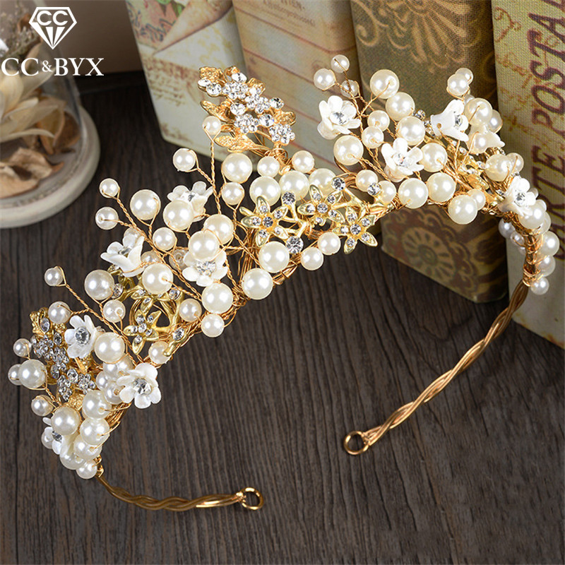CC Tiaras And Crowns Hairband Crystal Beads Pearl Baroque Style Wedding Hair Accessories For Bridal Engagement Fine Jewelry zm62