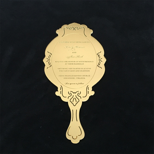 Customized vintage hand held mirror shape golden mirror acrylic customized vintage hand held mirror shape golden mirror acrylic wedding invitation cardparty invitation card stopboris Choice Image