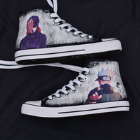 Plus size 45 Men Hand painted Canvas shoes Naruto Cosplay Shoes Halloween Sasuke Uchiha Cosplay boots X9089