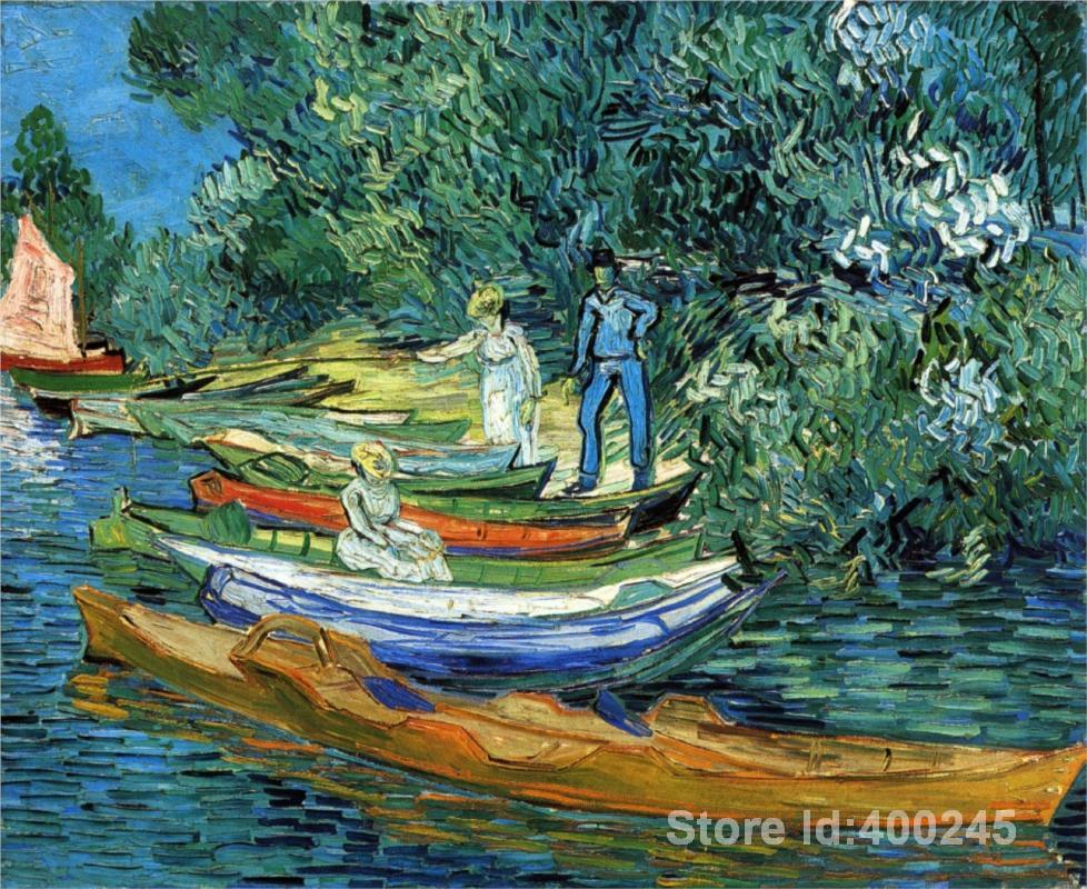 57820fbaf24 Pinturas by vincent van gogh barcos a remo nas margens do oise arte da  parede pintados à mão de alta qualidade em Pintura   Caligrafia de Home    Garden no ...