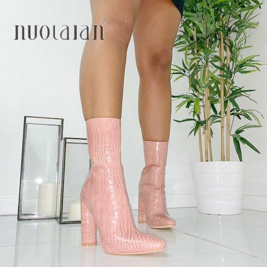 높은 품질의 여성 발목 부츠 지퍼 지적 발가락 신발 10.5CM 하이힐 여성 부츠 파티 신발 여성 2020 새로운 겨울