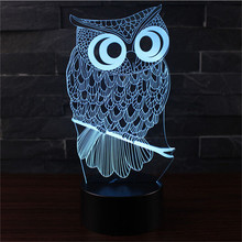 Owl LED 3D Lampes Met AA USB Twee Model Power Night Lampe Tafellamp Kids Lights