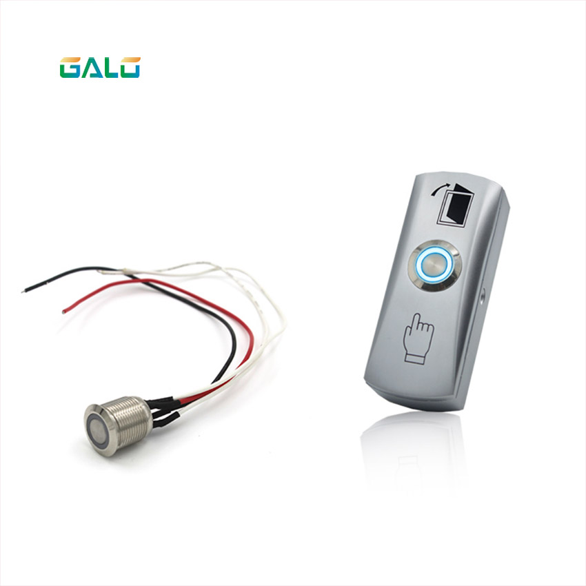 GALO Metal Annular Push Button Switch Ring LED light with NO COM Door Access Control System Exit Button Exit SwitchGALO Metal Annular Push Button Switch Ring LED light with NO COM Door Access Control System Exit Button Exit Switch