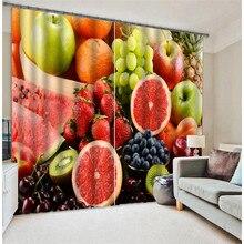 Кухонные шторы с фруктами, роскошные затемненные 3D занавески на окна для гостиной, детской спальни, занавески cortinas Rideaux, Индивидуальный размер