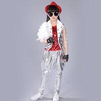 Sparkly Sequin Jazz Dance Costume Children Girls Hip Hop Dance Suit Modern Dance Stage Model Performance