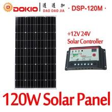Marca 120 W 18 Volt Negro Panel Solar DOKIO China + 10A Controlador de 12/24 Voltios 120 Vatios Paneles de Células Solares/módulo/Sistema/Home/Barco