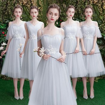 Beauty Emily A line Lace Grey Bridesmaid Dresses 2020 Short for Children Wedding Party Prom Women Dresses