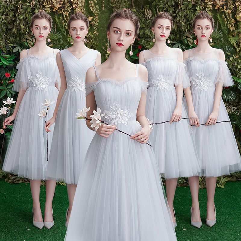 Beauty Emily A line Lace Grey   Bridesmaid     Dresses   2019 Short for Children Wedding Party Prom Women   Dresses