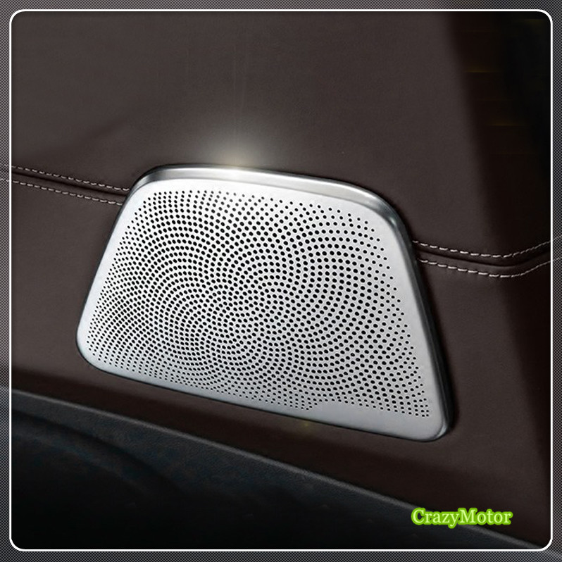 For BMW 5 Series G30 / 6 Series GT G32 2017-2018 Steel Auto Car-styling Interior Rear Door Speaker Sticker Decoration Cover 2* quantum alpha series 6 5 inch component speaker