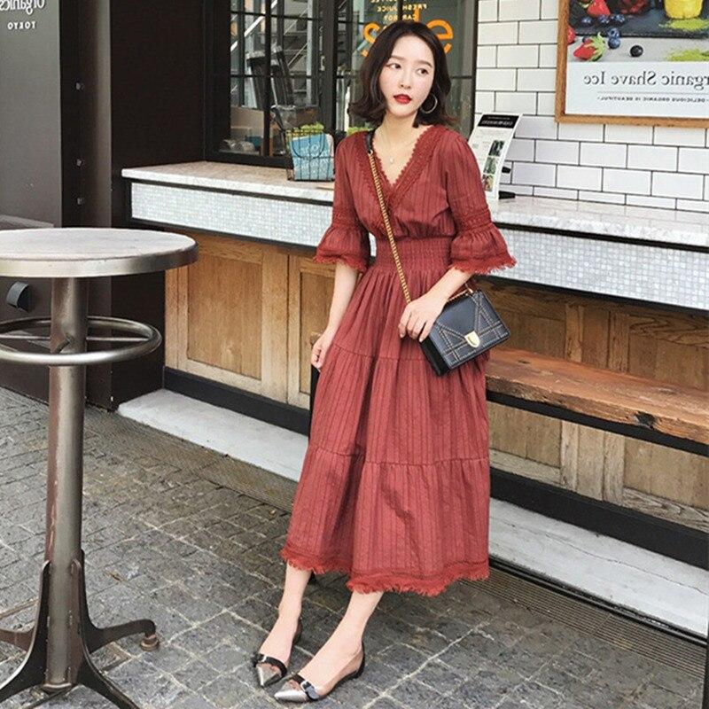 Retro French Women Sukol Dress Half Flare Sleeve Chic Fairy Midi A Line Dress 2019 New