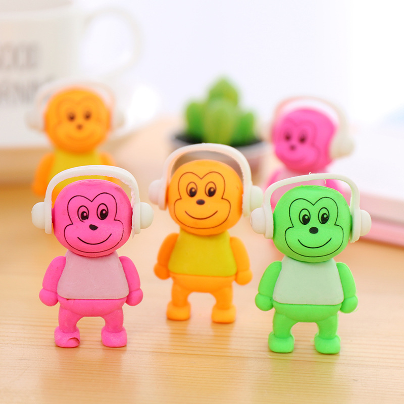 1pc Kawaii Cute Music Monkey Animals Rubber Erasers Drawing Writing Correction School Supply Pupils Gifts Kid Student Stationery