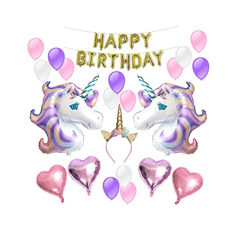 1 unicorn aluminum balloons children 39 s birthday party for Baby shower decoration set