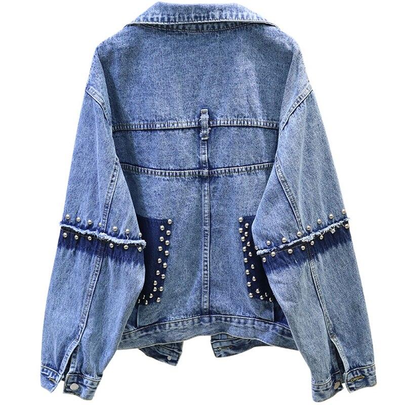 Heavy Rivet Women's Denim   Jacket   Spliced Long Sleeve Casual   Basics   Coat Harajuku Spring Jeans   Jackets   Female Big size Streetwear