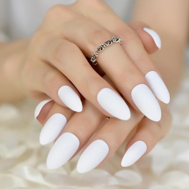 Pure White Candy Soft Matte Nails Pointed Medium Almond Design Kit Stiletto Fake Nail Art Tips