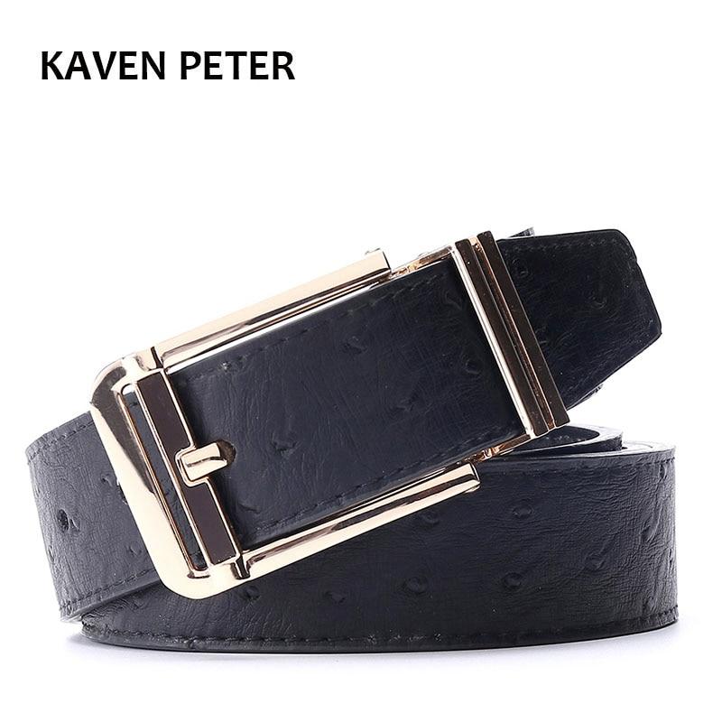 الرجال حزام النعام أحزمة cummerbunds الذهب معدن الخصر حزام من الجلد الخالص للرجال مع مصمم أسود عالية الجودة شحن مجاني