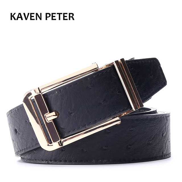 Ostrich Belt Men Belts Cummerbunds Gold Metal Waist Pure Leather Belt For Men  With Black Designer HighQuality Free Shipping