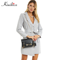Kinikiss Fashion Office Lady Jacket Dress Trench Long 2017 Striped Suit Style Sexy Dress Trench Coat
