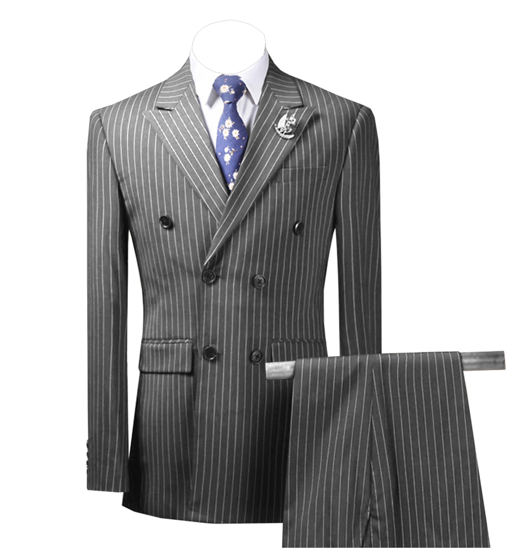 2 Pieces Mens Suits Striped Slim Fit Business Grey Suits Groom Tweed Wool Brown Tuxedos For Evening Wedding (Blazer+Pants)