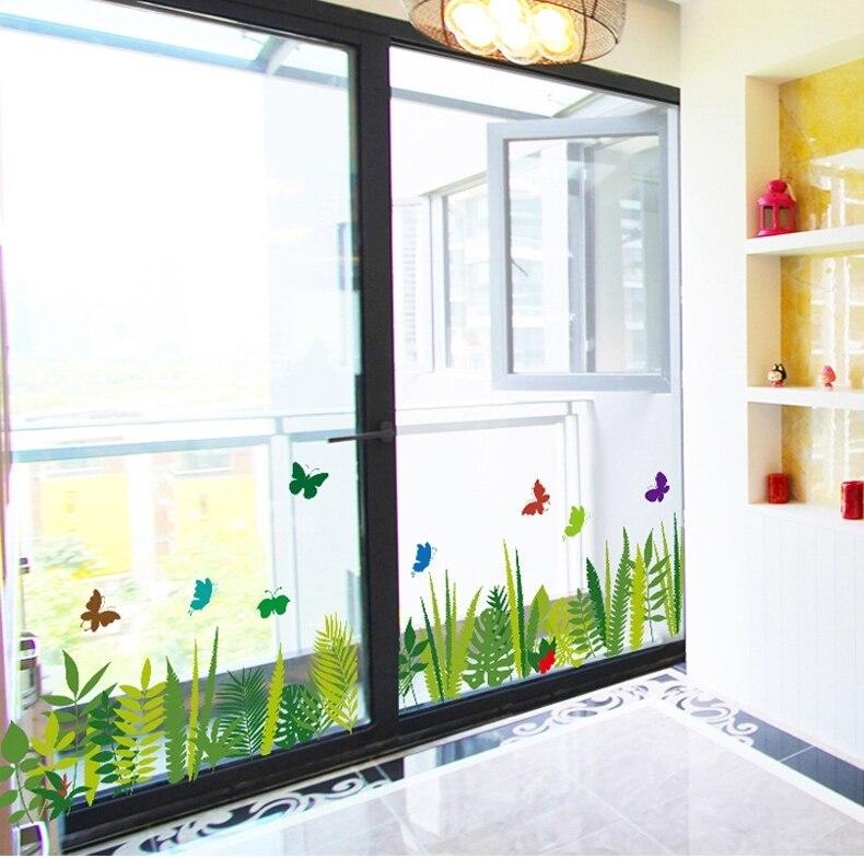 waterproof bathroom fern grass border wall sticker water plants vinyl window wallpaper decals home shower room