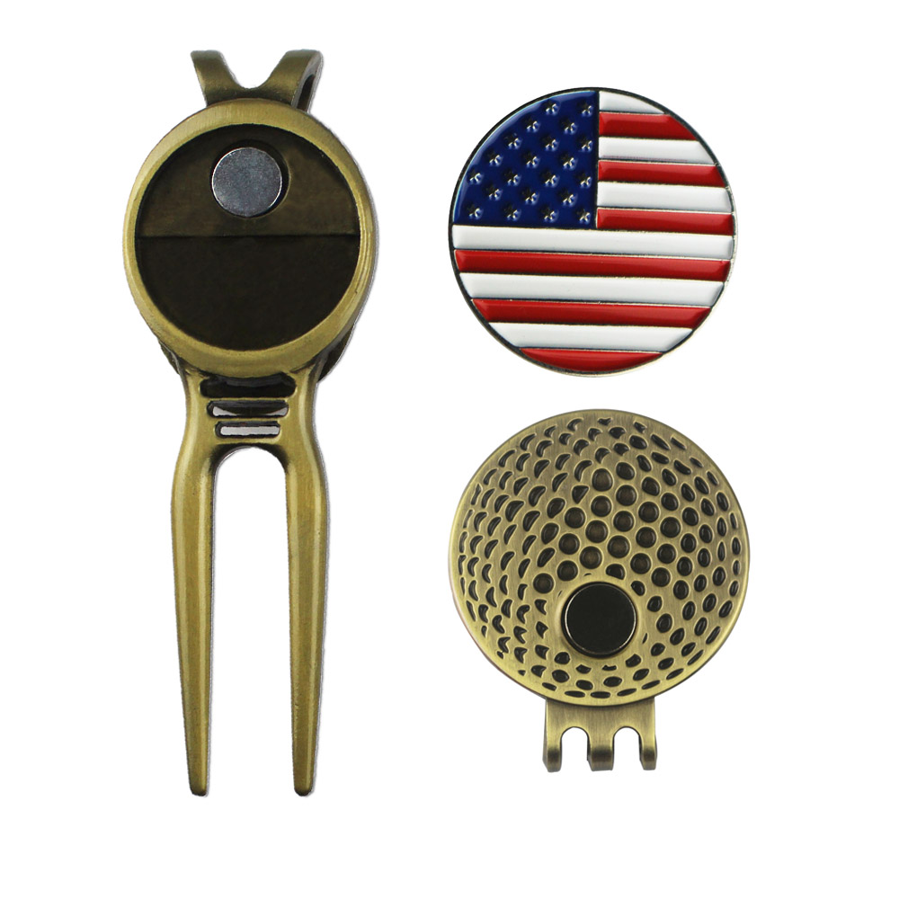 Golf Ball Mark With Strong Magnetic Hat Clip And Divot Tool- Golf Training Aids