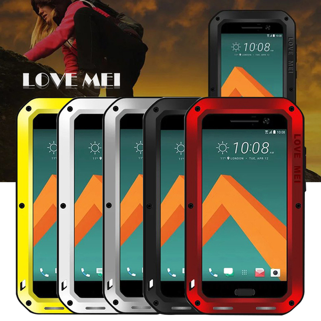designer fashion 1376b b4c35 US $35.3 |Love Mei case for HTC M10 waterproof Shockproof metal cover cases  for htc 10 Tempered Glass phone case-in Fitted Cases from Cellphones & ...