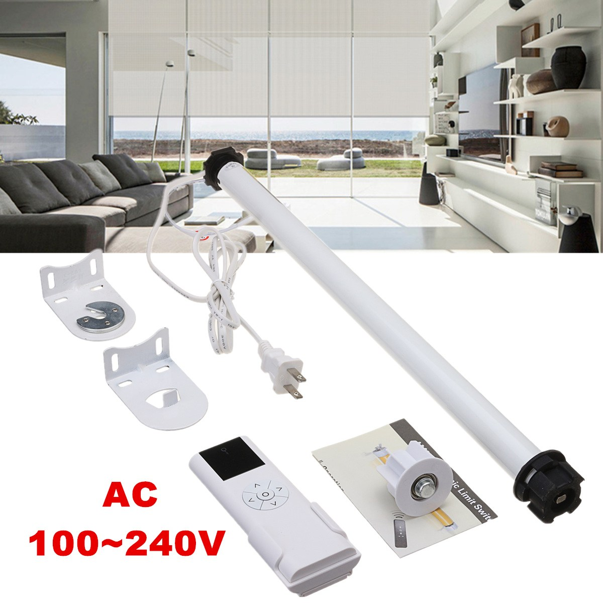 AC 100-240V DIY Electric Roller Shade Tubular 25mm Motor with Remote Control Home Decoration for Curtain Shade Roller Blinds