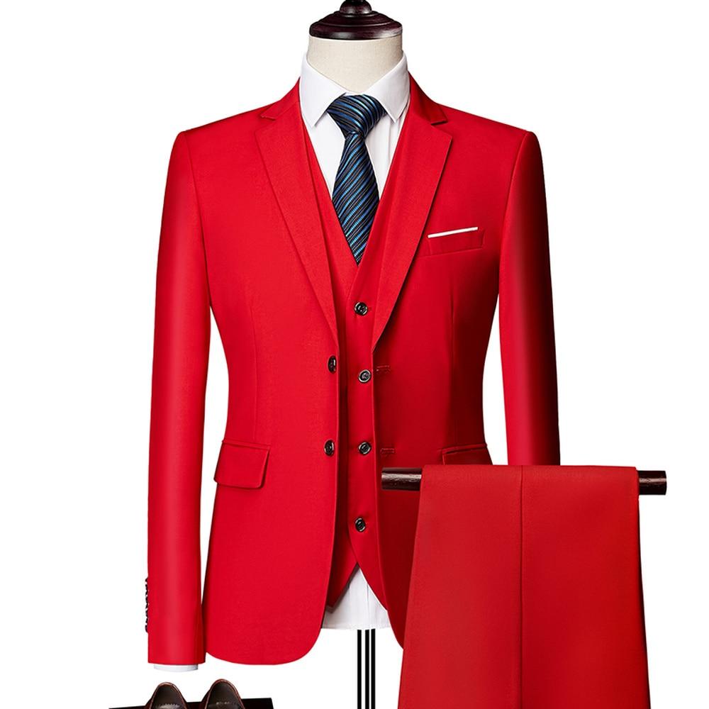 (Blazer + Calça + Colete) clássico Homens de Negócios Formal Terno Fino Azul Royal Casamento Traje Do Noivo Desgaste Terno Masculino Preto Senhores M-6XL