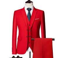 (Blazer+Pants+Vest) Classic Men Formal Business Suit Slim Royal Blue Wedding Groom Wear Male Suit Black Gentlemen Costume M-6XL