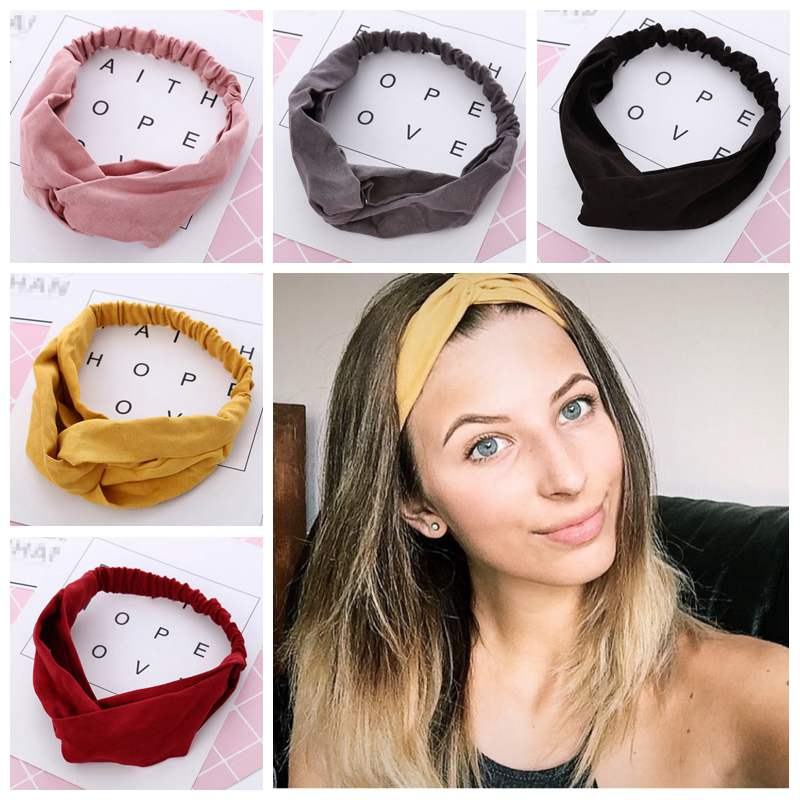 FAITOLAGI Women Spring Autumn Suede Headband Vintage Cross Knot Elastic Hair Bands