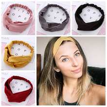 Women Spring Autumn Suede Headband Vintage Cross Knot Elastic Hair Bands Soft Solid Girls Hairband Hair Accessories(China)