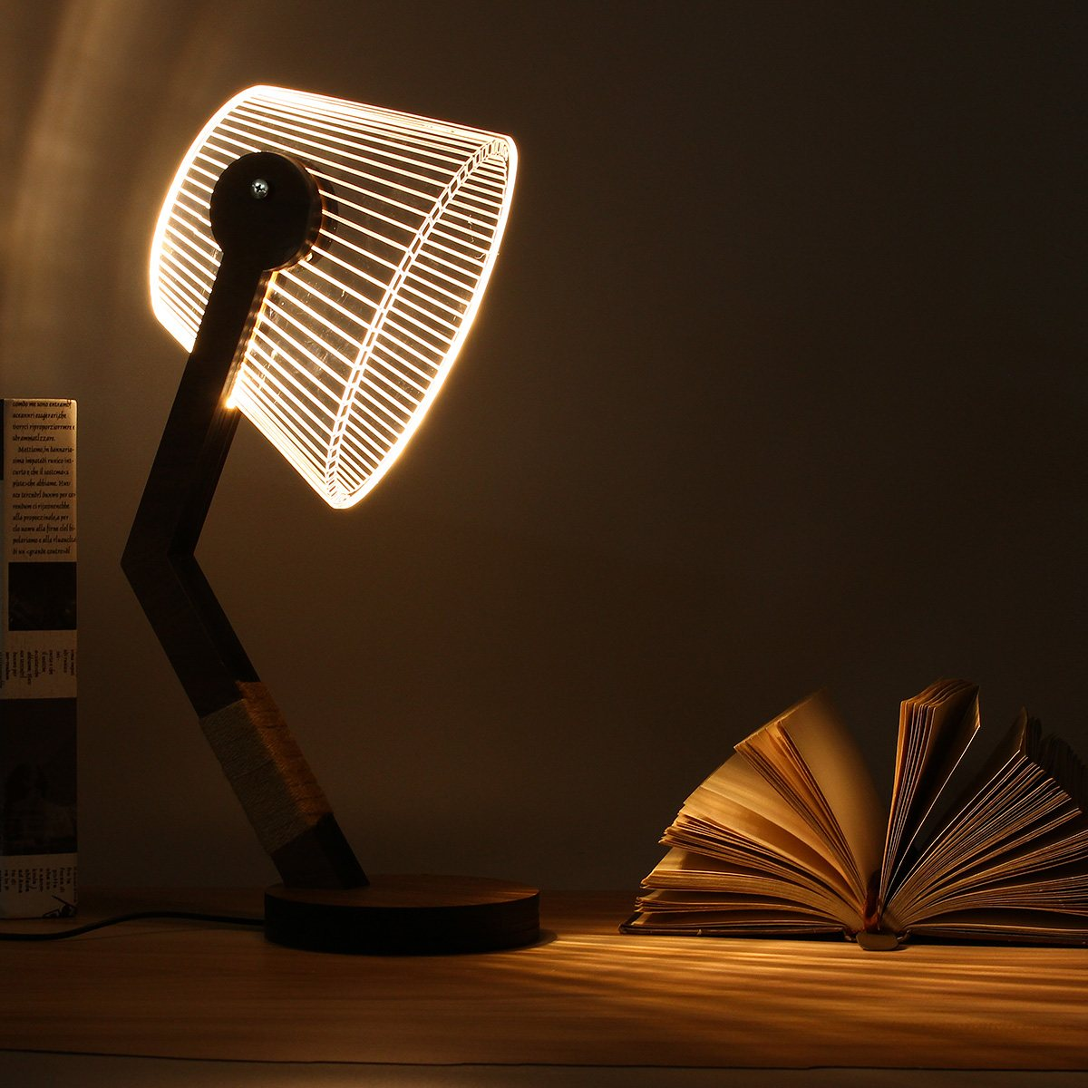 Adjustable 3D Wooden Stand Lamp Night Light Bedroom Table Desk ...